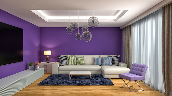 Home Improvement - Deep purple room with pendant lights and wood floor.